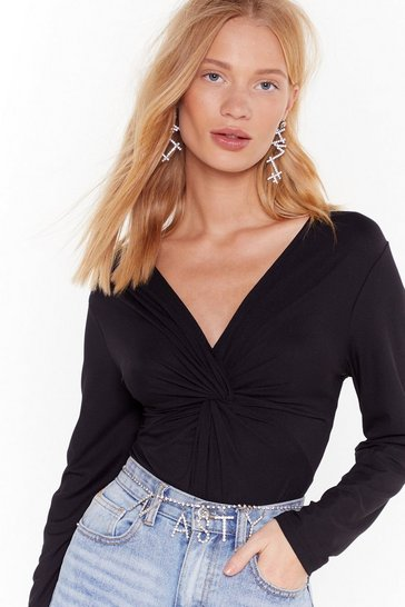 Womens Black Let's Do the Twist V-Neck Bodysuit