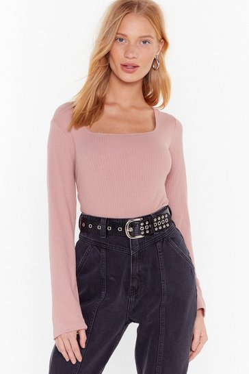 Womens Rose My Baby Don't Square Neck Ribbed Top