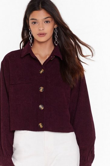 Womens Maroon Just Can't Crop Corduroy Shirt