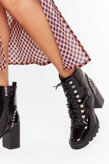 Black Stand Back Studded Heeled Boots