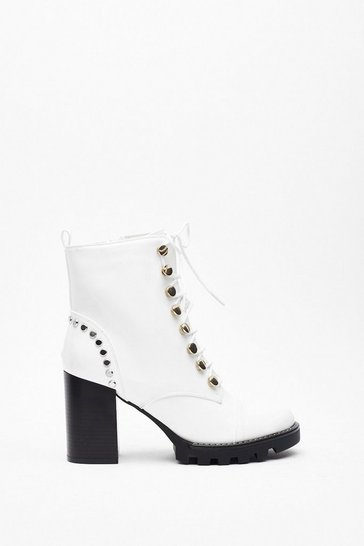 Womens White Stand Back Studded Heeled Boots