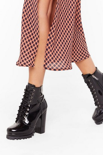Womens Black Big Heels to Fill Patent Faux Leather Boots