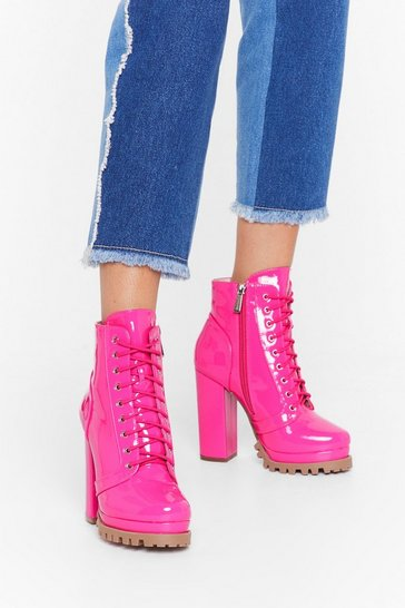 Fuchsia Big Heels to Fill Patent Faux Leather Boots