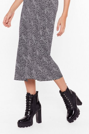 Black The Risk is High Faux Leather Croc Boots