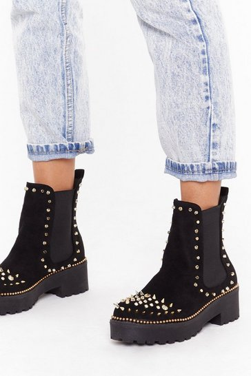 Womens Black Devil's in the Detail Embellished Faux Suede Boots