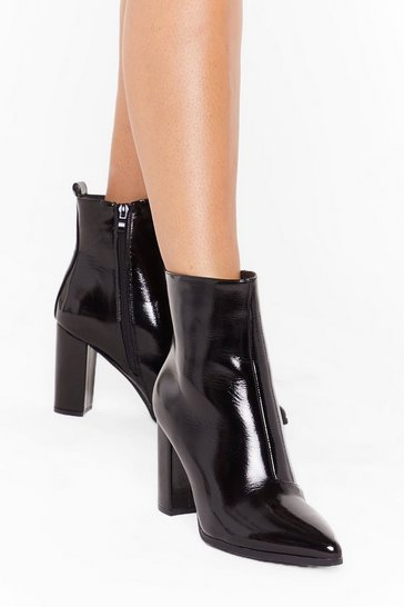Womens Black Patent For You Heeled Ankle Boots