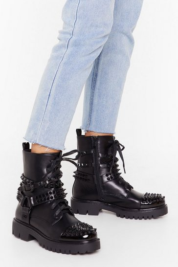 Womens Black Viciously studded lace up hiker boot