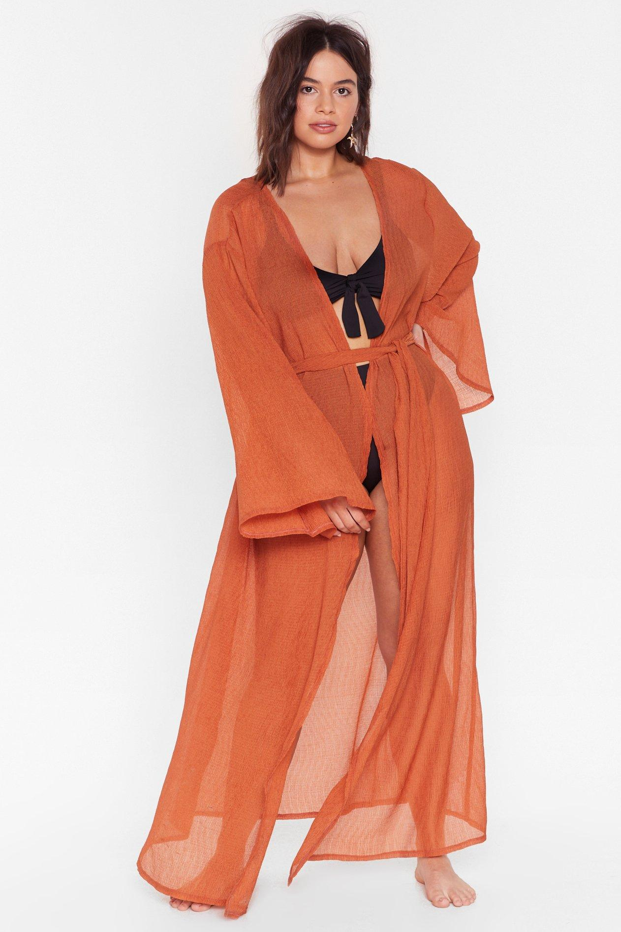 Wassup Beaches Plus Cover-Up Kimono