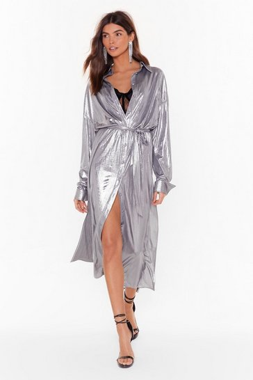 Womens Silver One More Can't Shirt Metallic Midi Dress