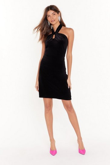 Black Let Me Hear You Halter Neck Mini Dress