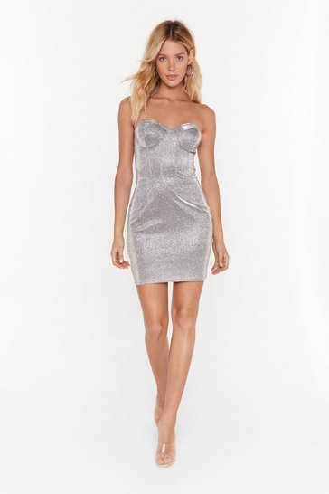 Silver My Mind's Corset On You Glitter Mini Dress