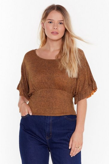 Brown Some Wild Wild Life Plus Leopard Wide Sleeve Top