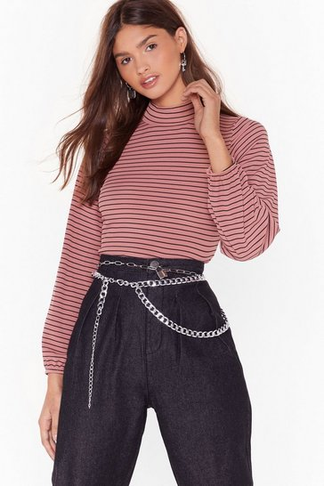 Womens Pink Roll on Honey Turtleneck Striped Top