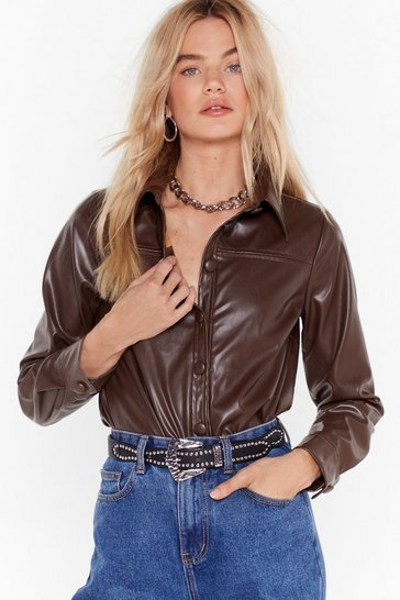 Womens Chocolate Go With the Faux Leather Shirt