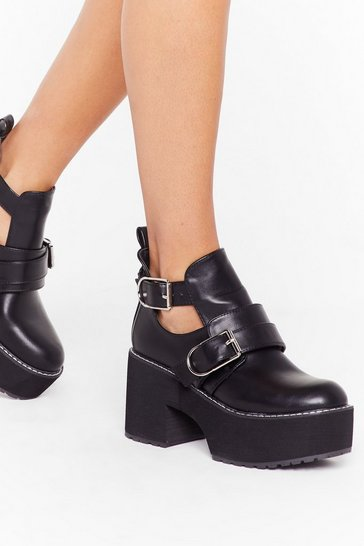 Womens Black Platform Big Buckle Cut Out Boots