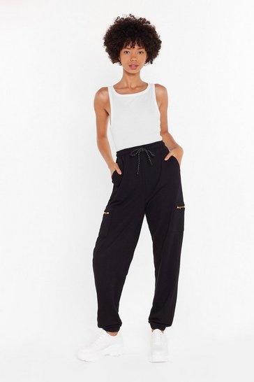 Womens Black This is Zip High-Waisted Cargo Joggers
