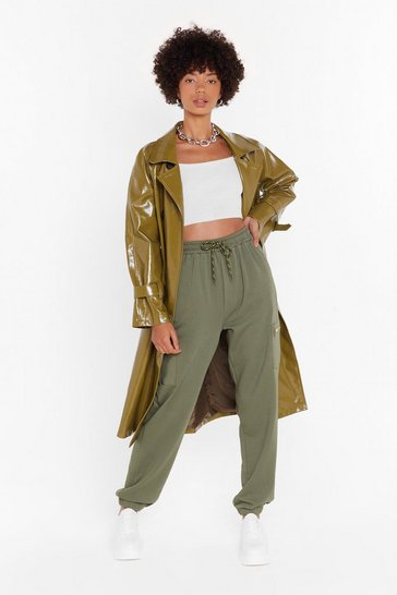 Womens Khaki This is Zip High-Waisted Cargo Joggers