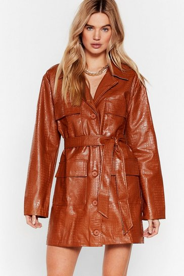 Tan Life on Mars Faux Leather Croc Dress