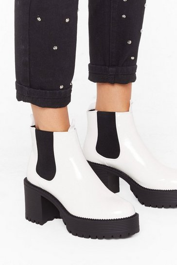 Womens White Boot Down Platform Chelsea Boots