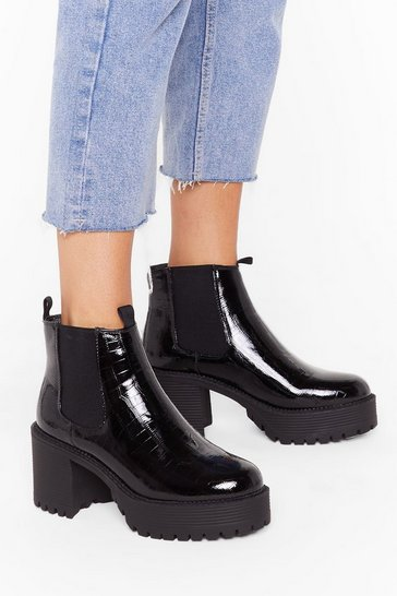 Womens Black Heeled Cleated Faux Croc Chelsea Boot