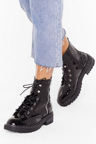 Womens Black Lace 'Em Know Patent Biker Boots