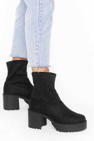 Womens Black Just Relax Faux Suede Sock Boots