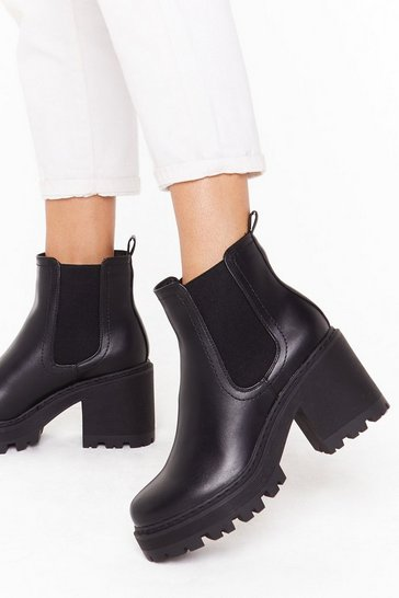 Black Stand With Us Faux Leather Cleated Boots