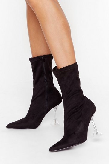 Black Sock What You're Doing Faux Suede Stiletto Boots