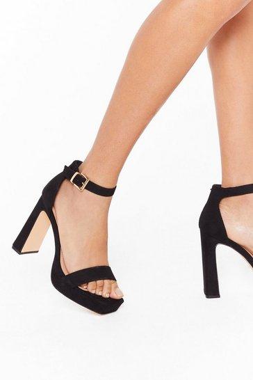 Black Full Exposure Faux Suede Flare Heels