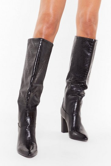 Black Croc Giving Up Faux Leather Knee-High Boots