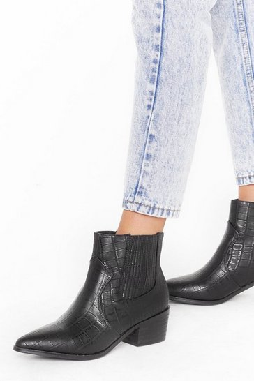 Black Headin' West Faux Leather Croc Boots