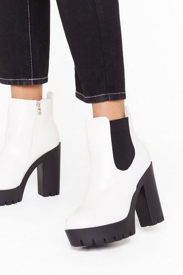 White Hey What's Up Faux Leather Platform Boots