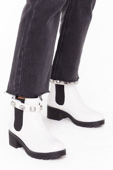 Womens White Blingin' You Home Faux Leather Embellished Boots