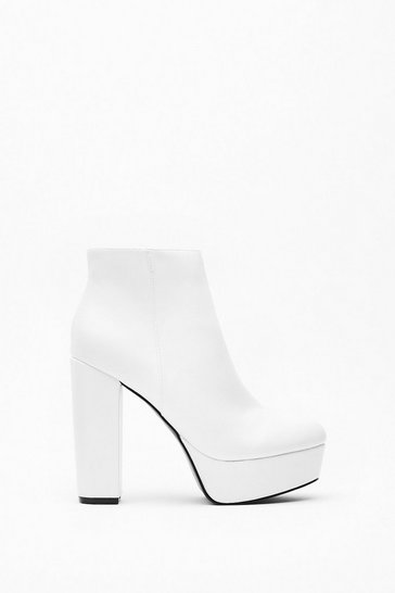 Womens White Stay High Faux Leather Platform Boots