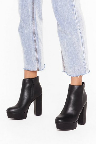 Black You Raise Me Up Faux Leather Platform Boots