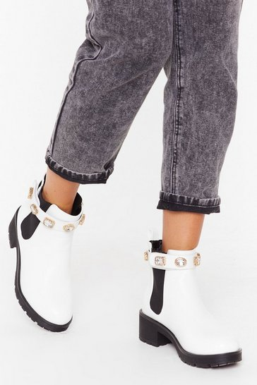 Womens White Diamante strap cleated chelsea boots