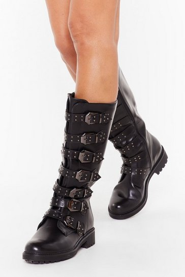 Womens Black Buck It Faux Leather Calf-High Boots