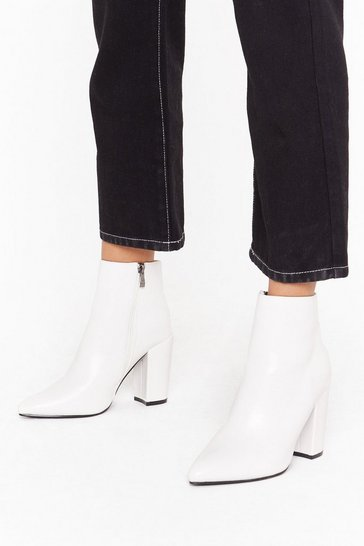 Womens White Point Out Faux Leather Ankle Boots