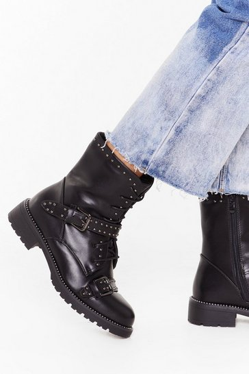 Womens Black Jump on Babe Lace-Up Biker Boots