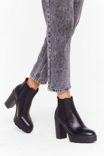 Womens Black Step It Up Faux Leather Platform Boots