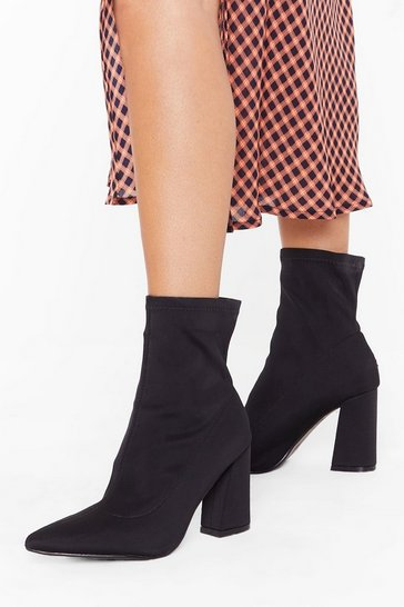 Womens Black Ridin' High Flare Heel Sock Boots