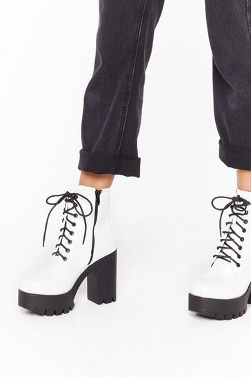 White Smile On My Lace Faux Leather Platform Boots