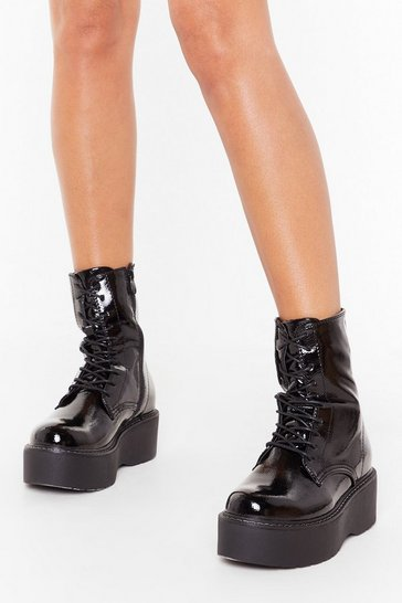 Womens Black Walk With Me Faux Leather Platform Boots
