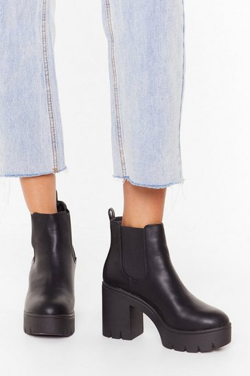 Womens Black Chunky cleated heeled chelsea boots