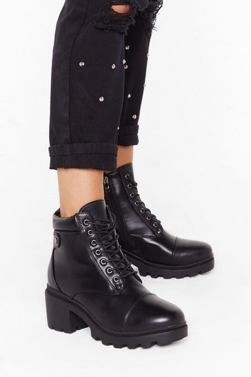 Womens Black Climb to the Top Lace-Up Ankle Boots