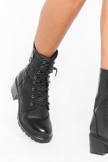 Womens Black Admit Zip Faux Leather Lace-Up Hiker Boots