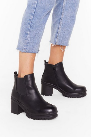 Womens Black Move On Up Faux Leather Chelsea Boots