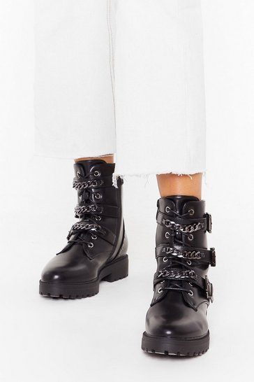 Womens Black Triple chain strap biker boots