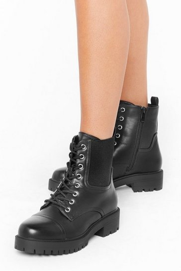 Womens Black If You Can't Stand the Heat Faux Leather Boots