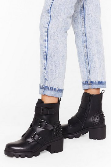 Womens Black It's a Strap Faux Leather Embellished Boots